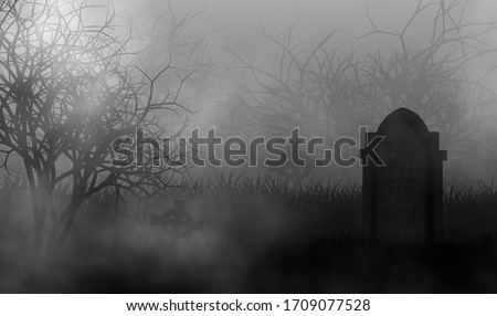 Old horror cemetery in the dark with vintage headstone on graveyard illustraion graphic design background. Foto stock ©