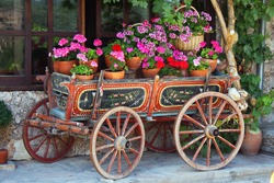 Old horse-car with flowers
