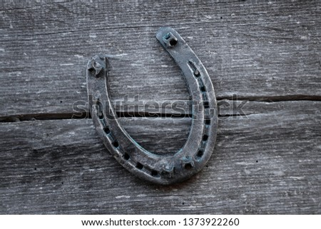 Old horseshoe on an old wooden board. The concept of luck, luck, luck. #1373922260
