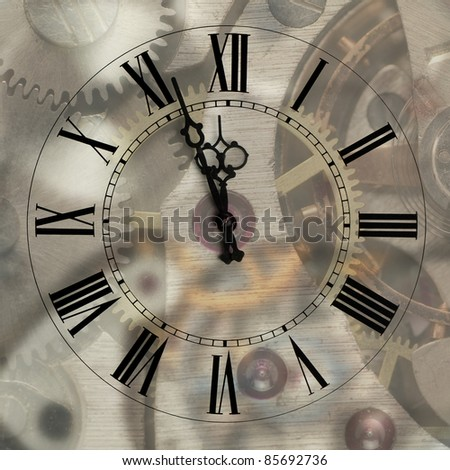 Old hours with figured arrows on mechanism blur background.Arrows and the Roman figures