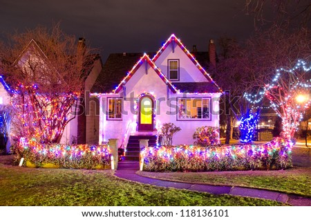 Old house decorated and lighted for Christmas and for New Year Eve at Night at Vancouver, Canada.