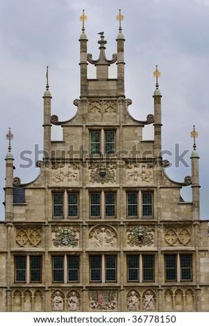 Old house facade in Gent, Belgium - stock photo
