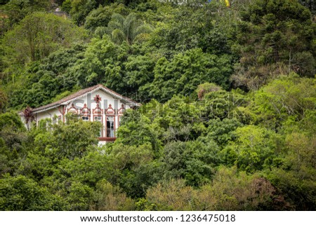 Old house in the midst of the vegetation near the historical center of the historical city of Ouro Preto, Brazil. #1236475018