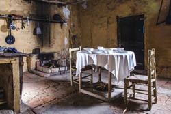 Old house kitchen table set from countryside housefarm