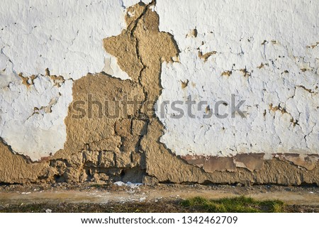 Old house wall falling apart