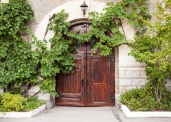 Old house wall with wooden door and green vine leaves, background photo texture