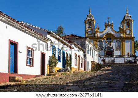 Old houses and church located in the historic city of Brazil / Baroque architecture / Colonial houses of Brazil