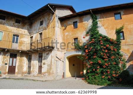 Old houses courtyard with flowers on the wall, Grignasco, Piedmont, Italy