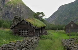 old houses in Mabodalen open air museum in Norway
