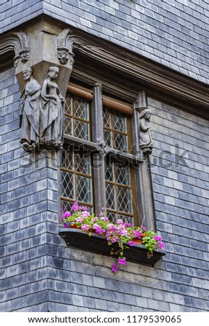 Old houses in medieval city of Tours. City Tours is UNESCO World Heritage Site. Tours - city in central France, capital of the Indre-et-Loire department. France. #1179539065