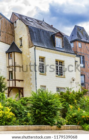 Old houses in medieval city of Tours. City Tours is UNESCO World Heritage Site. Tours - city in central France, capital of the Indre-et-Loire department. France. #1179539068