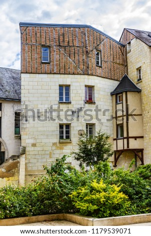 Old houses in medieval city of Tours. City Tours is UNESCO World Heritage Site. Tours - city in central France, capital of the Indre-et-Loire department. France. #1179539071