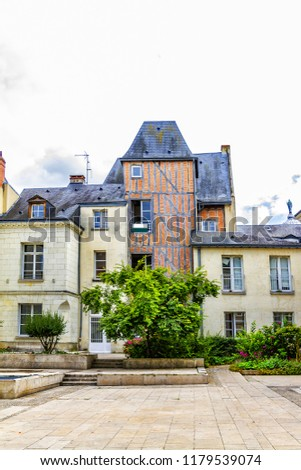 Old houses in medieval city of Tours. City Tours is UNESCO World Heritage Site. Tours - city in central France, capital of the Indre-et-Loire department. France. #1179539074