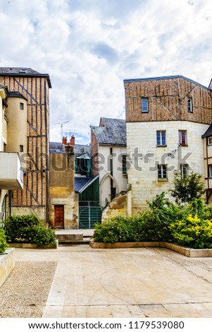 Old houses in medieval city of Tours. City Tours is UNESCO World Heritage Site. Tours - city in central France, capital of the Indre-et-Loire department. France. #1179539080
