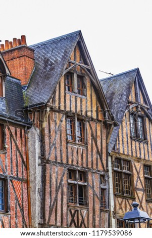 Old houses in medieval city of Tours. City Tours is UNESCO World Heritage Site. Tours - city in central France, capital of the Indre-et-Loire department. France. #1179539086
