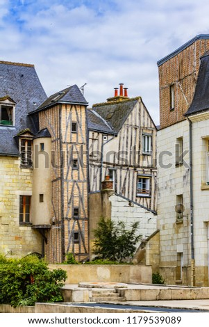 Old houses in medieval city of Tours. City Tours is UNESCO World Heritage Site. Tours - city in central France, capital of the Indre-et-Loire department. France. #1179539089
