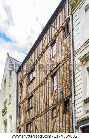 Old houses in medieval city of Tours. City Tours is UNESCO World Heritage Site. Tours - city in central France, capital of the Indre-et-Loire department. France. #1179539092