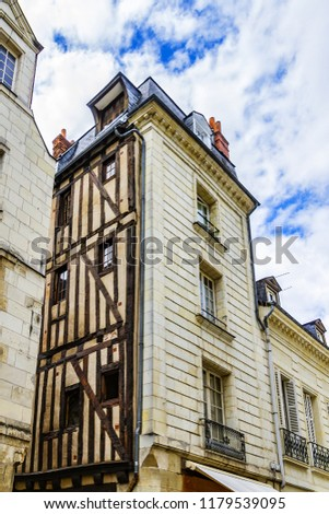 Old houses in medieval city of Tours. City Tours is UNESCO World Heritage Site. Tours - city in central France, capital of the Indre-et-Loire department. France. #1179539095