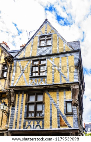 Old houses in medieval city of Tours. City Tours is UNESCO World Heritage Site. Tours - city in central France, capital of the Indre-et-Loire department. France. #1179539098