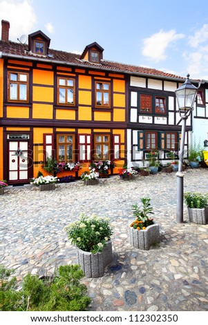 Old houses in Quedlinburg town, Germany
