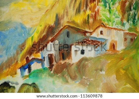 old houses in spanish village, illustration, painting