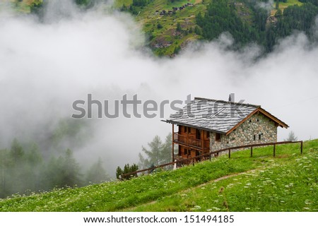 Old houses in Switzerland.La Sag.Valais