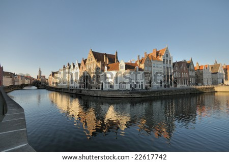 Old Houses reflected in a canal in Brugge, Belgium