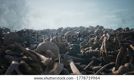 Old human skulls and bones left over from the battle. The concept of war and the Apocalypse. 3D Rendering Photo stock ©