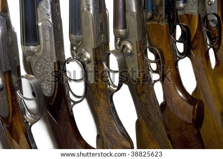 old hunting double-barreled guns