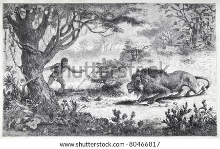 "Old illustration depicting a Betschuana tribe man finds his brother eaten by a lion, drawn by Karl Liebscher in Emil Holub's ""Seven Years in South Africa"", published in Vienna, 1881"
