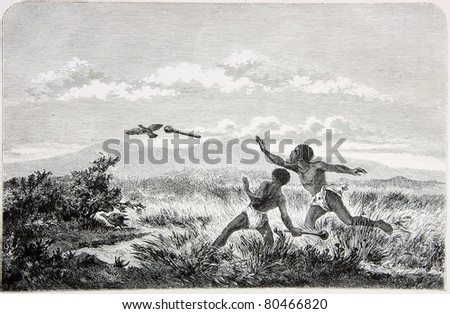 "Old illustration depicting boys of Betilapin tribe in South Africa throwing Kiri, drawn by unknown artist in Emil Holub's ""Seven Years in South Africa"", published in Vienna, 1881"