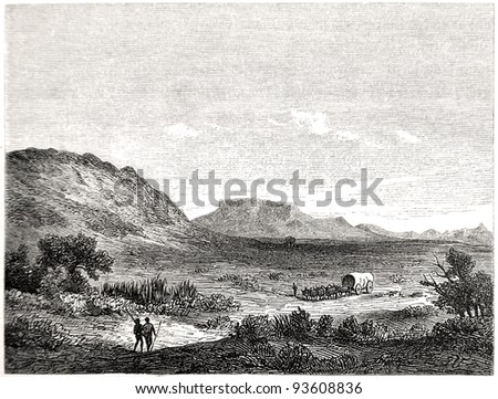 """Old illustration depicting Crakock region in South Africa in 1880, drawn by J. Vanione in Emil Holub's """"Seven Years in South Africa"""", published in Vienna, 1881"""