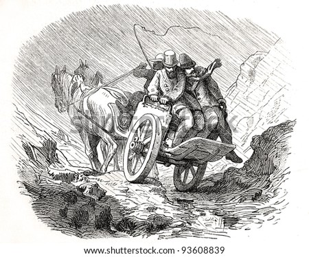 "Old illustration depicting drive to diamond fields in South Africa in 1880, drawn by J. Vanione in Emil Holub's ""Seven Years in South Africa"", published in Vienna, 1881"