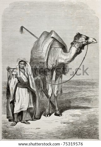 Old illustration of a boy holding camel's reins. Created by Pottin, published on Le Tour du Monde, Paris, 1864