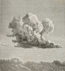Old illustration of a cloud. By unknown author, published on L'Eau, by G. Tissandier, Hachette, Paris, 1873