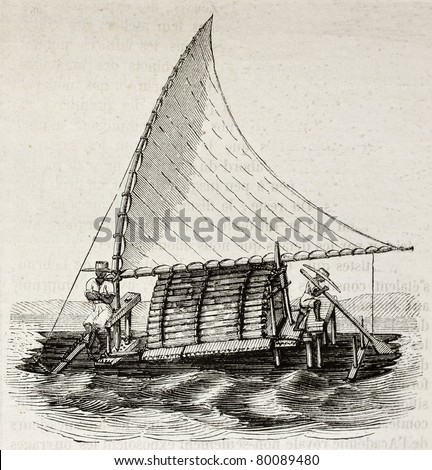 Old illustration of a Jangada, traditional fishing boat used in northern region of Brazil. By unidentified author, published on Magasin Pittoresque, Paris, 1850