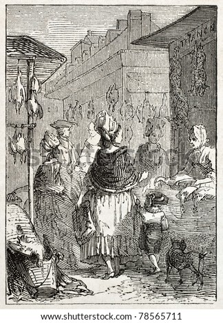 Old illustration of a poultry seller in market place. Created by Godefroy-Durand, published on L'Illustration Journal Universel, Paris, 1857