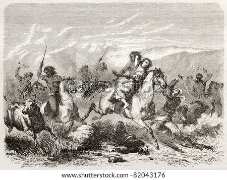 Old illustration of a raid and woman rape by south American natives. Created by Duveau after Gay, published on Le Tour du Monde, Paris, 1860