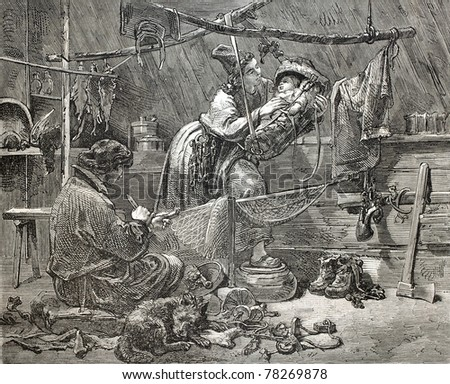 Old illustration of a Swedish Lapland fishers family in home interior. Created by Hockert, published on L'Illustration Journal Universel, Paris, 1857