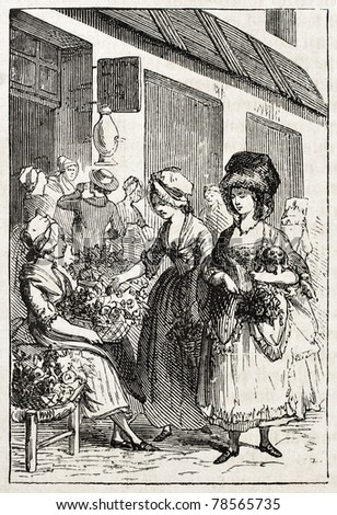 Old illustration of a woman selling flowers. Created by Godefroy-Durand, published on L'Illustration Journal Universel, Paris, 1857