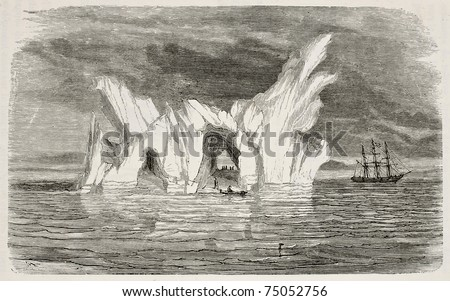 Old illustration of an iceberg. Created by Foulouier and Rouget, published on L'Eau, by G. Tissandier, Hachette, Paris, 1873