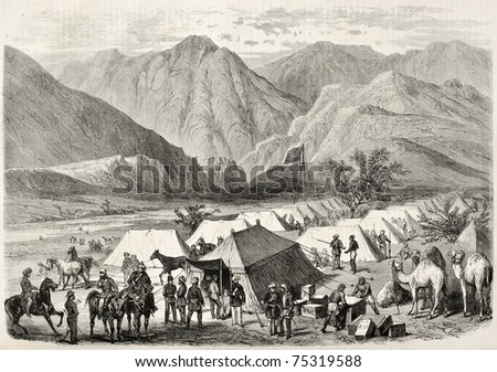 Old illustration of British headquarters along the way to Senafe, Abyssinia. Created by Blanchard and Cosson-Smeeton, published on L'Illustration, Journal Universel, Paris, 1868