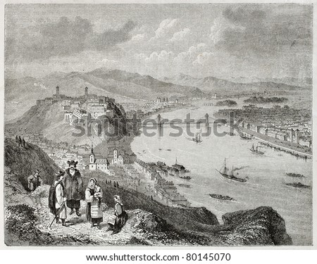 Old illustration of Buda and Pest on the two banks of the Danube river. Created by Freeman and Quartley, published on Magasin Pittoresque, Paris, 1850