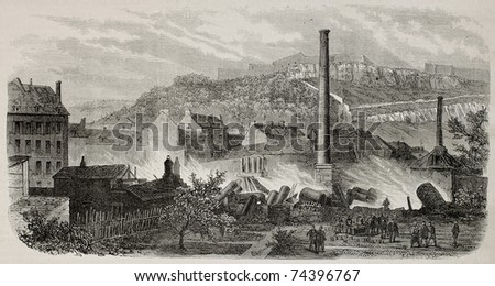 Old illustration of Bugnot-Colladon distillery ruins after fire in Besancon, France. By Blanchard and Cosson-Smeeton, after photo of Perret, publ. on L'Illustration, Journal Universel, Paris, 1868