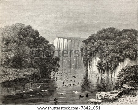 Old illustration of Canari pond, Peru. Created by Riou, published on Le Tour du Monde, Paris, 1864