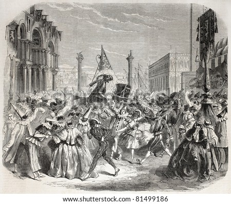 Old Illustration of Carnival in Venice. Created by Janet-Lange, published on L'Illustration Journal Universel, Paris, 1857