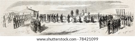 Old illustration of Chalons military camp inauguration by emperor Napoleon III. Created by Worms after sketch of De Quesnoy, published on L'Illustration Journal Universel, Paris, 1857