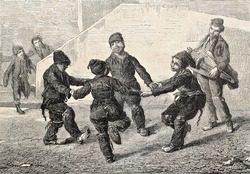 Old illustration of Chimney sweeps playing ring-a-ring o' roses. Created by Sain, published on L'Illustration Journal Universel, Paris, 1857