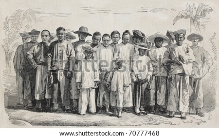 Old illustration of Chinese immigrants in Guadalupe. Original, from drawing of Worms, after photo of Lamoise, was published on L'Illustration Journal Universel, Paris, 1860