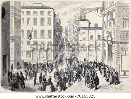 Old illustration of crowd attending political meeting in Bologna, Italy. Original, from drawing of Worms, after sketch of De Vagnonville, published on L'Illustration, Journal Universel, Paris, 1860